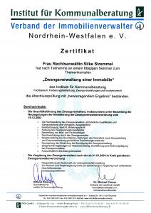 Zwangsverwaltung, Zertifikat